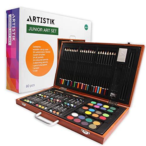 Conjunto de Arte de Madera - (82 Piezas) Conjunto Deluxe Arte y Creatividad Caja Set Profesional Artistica para colorear para principiantes, gran regalo para artistas, adultos, adolescentes y niños