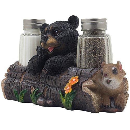 är und Eichhörnchen Freund auf Log Salz-& Pfefferstreuer Set Figur DISPLAY STÄNDER IN Rustic Lodge Tischdekorationen oder Kabine Küche Decor Skulpturen als Geschenk für Freunde ()