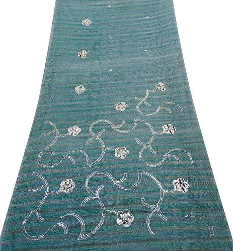 PEEGLI Indisch Frau Sarong Wickeln Grün Vintage Saree Die Seide Mischung DIY Stoff Traditionell Tragen Designer Kleid Bestickt Ethnisch Sari -