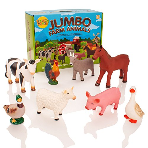 Learning Minds Conjunto de 8 Figuras Jumbo Farm Animal - 18 Meses...