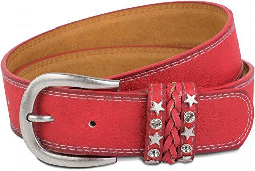 styleBREAKER Gürtel im Vintage Look mit Schmuckband an der Schließe, Ziehrnähte, Nieten, Strass, kürzbar, Unisex 03010062, Farbe:Rot;Größe:95cm (Metall-gürtelschnalle Rote)
