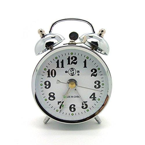 10cm Retro Uhr Aufziehwecker Glockenwecker Nostalgie Retro Doppelglocken Wecker silberfarben (#867)