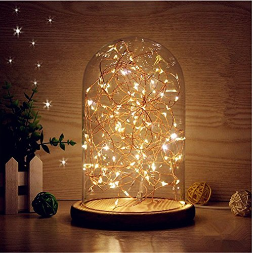 LEDMOMO Lumières de dôme en verre, lampe de table de nuit LED Dome Cloche Lampe de table de chevet USB LED (blanc chaud)
