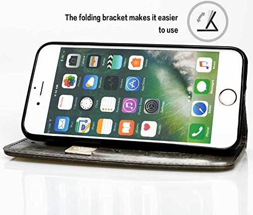 Coque iPhone 7, Mobest Étui Housse en Cuir iPhone 7, Cozy hut PU Cuir Flip Magnétique Portefeuille Etui Housse de Protection Coque Étui Case Cover avec Stand Support Avec des Cartes de Crédit Slot et  Gris gaufré