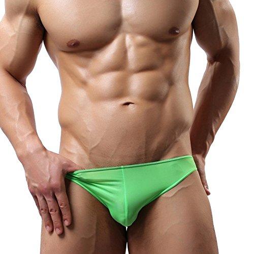 Tiaobug Stretch Herren Slips Tanga String Unterhose Männer Glatt Briefs Unterwäsche Grün XL (Mesh-stretch-slips)