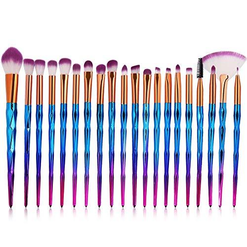 ZIMUUY 20 Pcs Kit De Pinceau Maquillage, Pinceau Fond de Teint, Pinceau à Poudre, Pinceau Ombre à Paupières, Pinceau Eyeliner avec jolie boîte à brosse multicolor (taille unique, C)