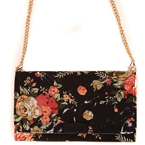 conze Fashion Téléphone portable petit sac de transport avec sangle croix corps pour Verykool S450/S4510Luna Black + Flower Black + Flower