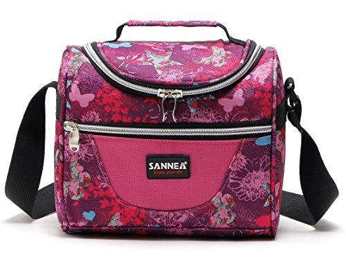 Yvonnelee borsa termica manutenzione di freddo e caldo porta pranzo cibo alimentazione con grande capacità e maniglia durevole lunch box per campeggio lavoro scuola7l rosa