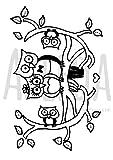 Azeeda A7 'Famille Hibou Mignonne' Tampon / Timbre en Caoutchouc (Non monté) (SP00009266)
