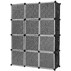 Finether-Armario Modular(Organizador Rizado Estampado de 12 Cubos, Sistema de de Estanterías de Escaparate con Translucidas Puertas Blancas para el Hogar Ropa, Juguetes, Chismes)Negro