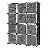 Finether-Armario Modular(Organizador Rizado Estampado de 12 Cubos, Sistema de de Estanterías de Escaparate...