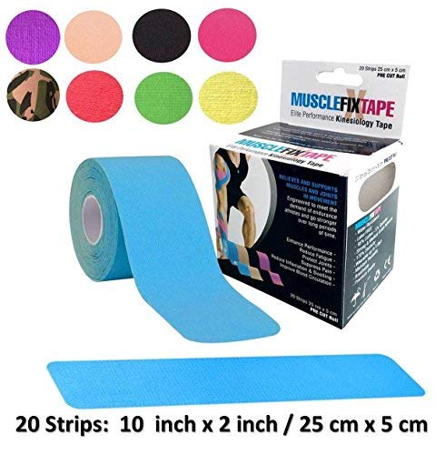 Muscle Fix Tape Kinisiology Band vorgeschnittene Rolle | Physiotherapie Chiropraktik Orthopädie | Kinesio tex Gold kinesiotapes Thera-Band (hellblau)