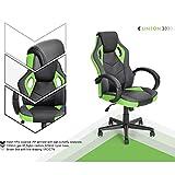 n.b.f fateuil de escritorio Gaming deporte asiento Racing para ordenador PU piel sintética verde negro