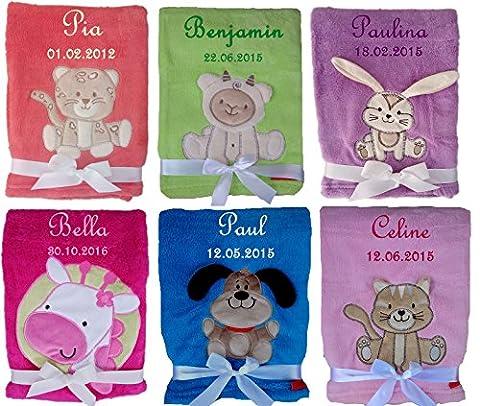 Babydecke weich und flauschig mit Namen bestickt Geschenk Baby Taufe Geburt (lila Hase)