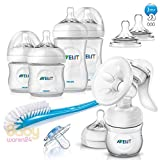 Philips AVENT Baby-Set 5-tlg. Naturnah Neugeborenen-Set + AVENT Milchpumpe + AVENT Sterilisator + AVENT Flaschenwärmer + Verschlussdeckel