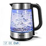 BESTEK Glas Wasserkocher,3000 Watt, automatische Abschaltung,kochendem Trockenschutz, blaue LED Beleuchtung,Kalkfilter,Max. 1,7L