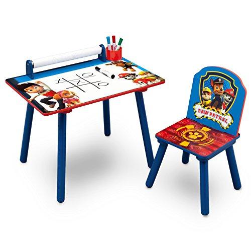 Delta Children TT89535PW Bureau avec Rouleau de Coloriage Intégré Motif Pat' Patrouille Bois Rouge 59,69 x 44,45 x 43,18 cm