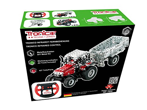 Metallic Development Equipment, RC Tractor Massey Ferguson MF-7600, Tractor with trailer, Distant COntrol, Infrared Management, 427 elements, LED-light, 12+, Tronico©