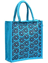 Blue Jute With Blue Hexa Printed With Blue Rope Handle Jute Burlap Lunch Tiffin Outdoor Handbag Bag Working Office...