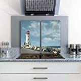 FTB Gsmarkt Herdabdeckplatten Schneidebrett Set 2x30x52 Glasbild Wasser