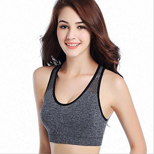 WeiMay Confort Respirant Antichoc Bandeau Vest soutien-gorge Avec Falsies Running Yoga Sport Bra Gris