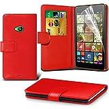 Gadget Giant® Microsoft Lumia 535 Red Farbe PU Lederetui Buch-Stil Handy Hülle mit Displayschutz-Folie - befristetes Angebot !