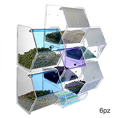 Clear or coloured acrylic candy or grain bin display with 6 containers with reclosable opening and a spoon holder Dimensions: 14.96''Wx5.91Dx
