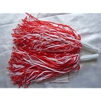 Lote de 2 pompones de color rojo y blanco