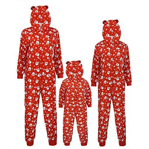 OHQ Weihnachten Overall Schlafanzüge Familien Outfit Sets Kostüm Oberteil und Hosen Pyjama Sleepwear Nachtwäsche Nachthemd Zweiteiliger Hausanzug Damen Herren Kinder Mädchen Jungen - Best 80's Paare Kostüm