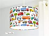 Deckenlampe fürs Kinderzimmer Jungs und Babys mit Autos in Weiß