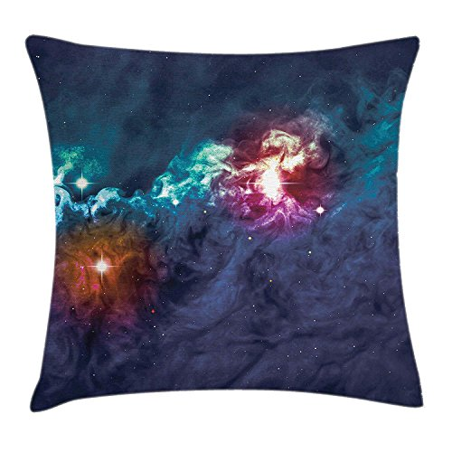 Space Throw Pillow Cushion Cover, Galactic Glamour Elegance on Milky Way on Colorful Alluring Cosmos Lights Display, Decorative Square Accent Pillow Case, 18 X 18 Inches, Magenta Blue -