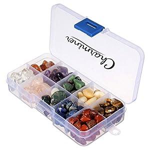 Charminer Edelsteine Set, klein natürlicher Quarz-Kristall 10 verschiedene Arten über 100 Stücke, schöne Deko Einsammeln mit Zertifikat