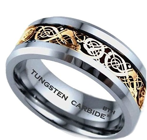Mens Ring - Gold Celtic Dragon Inlay TUNGSTEN Carbide Comfort Fit Wedding Engagement Jewelry Band Ring Size Z ( Available in Most Sizes )