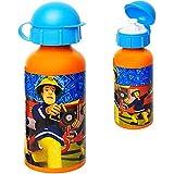 alles-meine.de GmbH Aluflasche / Trinkflasche - Feuerwehrmann Sam - BPA frei - auslaufsicher - 400 ml - Aluminium - für Kinder - Sportflasche 0,4 Liter / Alutrinkflasche - Flasc..