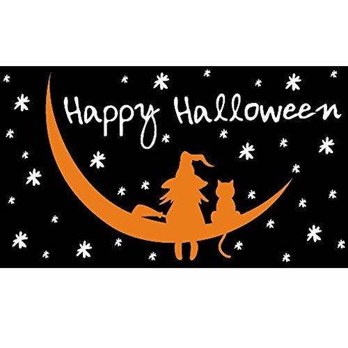 loween Hexe und Katze Flagge (Halloween-fliegen-hexe)