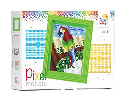 Pracht Creatives Hobby P31251 - Pixel Mosaik Geschenkverpackung, Papagei, Pixelbild mit Rahmen zum Gestalten für Kinder, Jungen und Mädchen, als kleines Geschenk, Mitgebsel, für den Kindergeburtstag