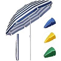 Sekey Sombrilla Ø 160 cm parasol para terraza jardín playa balcón piscina patio, color Rayas blancas azules, protector solar UV20+