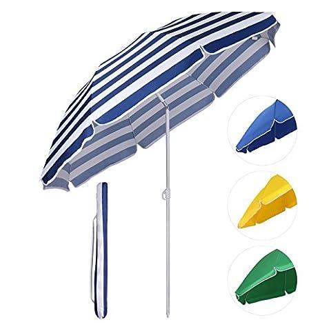 Sekey® Sonnenschirm Ø 160 cm Marktschirm Gartenschirm Terrassenschirm Blaue weiße Streifen Sonnenschutz UV20+