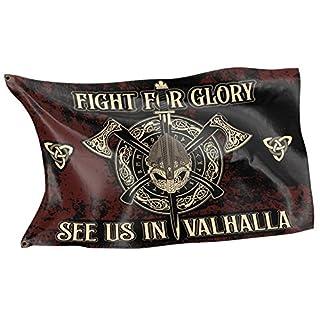Original RAHMENLOS® Design-Flagge für den Wikinger Fan: See us in Valhalla