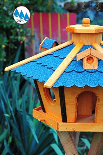 ÖLBAUM,Vogelhaus Massivholz,wetterfest, mit Ständer / mit Standfuß und Silo,Futtersilo für Winterfütterung -Holz Nistkästen & Vogelhäuser- Gartendeko aus Holz blau mit Ständer BR45blMS blau grau Vogelhäuschen, - 3