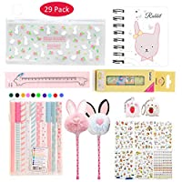 Amycute 29 Pcs Stationery Set for Girls, Rabbit Pencil Bag Ballpoint Pens Ruler Notepad Stickers, Stationary Gift Sets School Supplies for Kids Girls