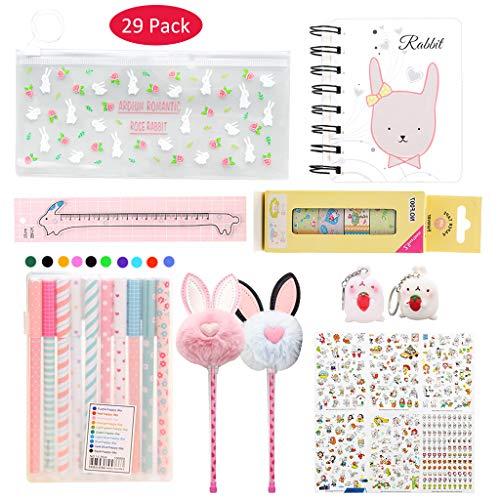 Amycute 29 piezas papelería kawaii Set para niñas, conejo estuche bloc notas bolígrafo adhesivo regla cinta decorativa para la escuela suministros para oficina suministros regalo