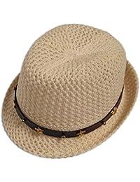 Leisial Moda Ocio Sombrero de Paja Playa Sombrero del Jazz Gorro Visera para el Sol al Aire Libre Viaje Verano Primavera para Chicas Niñas Azul