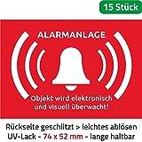 10 Stück + 5 Kostenlos Alarmanlage Aufkleber Alarmgesichert 74 x 52 mm/Alarmanlagen Aufkleber Wird überwacht - Premium Alarmanlage Aufkleber Alarmgesichert Einbruch