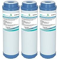 3X Gac-10Aquahouse 25,4cm GAC Charbon actif Granulaire cartouche de filtre à eau pour osmose inverse, toute la maison, l'eau potable