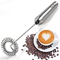 Sweet Alice Handheld Milk Frother Automatic Electric Stainless Steel Foam Maker For Kitchen Coffee Latte Cappuccino Hot Chocolate Durable Drink Mixer with Battery Operated
