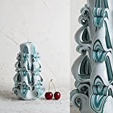 51KlJ7G4lHL. SL160  UK BEST BUY #1Turquoise Strips on White   Decorative Carved Candle   Gentle colors   Art Sculpture   EveCandles price Reviews uk
