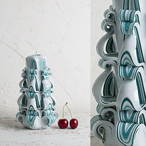 51KlJ7G4lHL UK BEST BUY #1Turquoise Strips on White   Decorative Carved Candle   Gentle colors   Art Sculpture   EveCandles price Reviews uk
