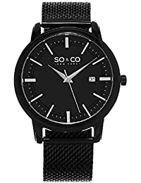 SO & CO New York Madison Men's Quartz Watch with Black Dial Analogue Display and Black Stainless Steel Bracelet 5207.4