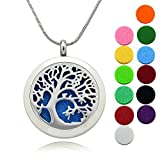 """Tree Locket Essential Oils Diffuser Necklace/Lademayh 30mm Round Stainless Steel Aromatherapy Pendant/24"""" Chians & 10Pads"""